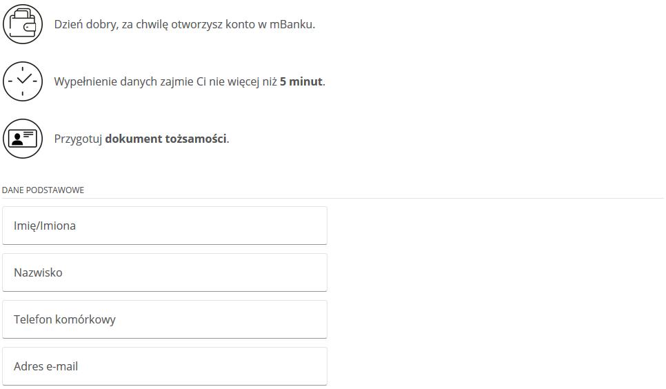 Jak założyć konto w mBanku przez internet - uzupełnianie podstawowych danych we wniosku