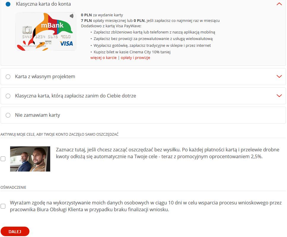 Jak założyć konto w mBanku przez internet - wybór karty
