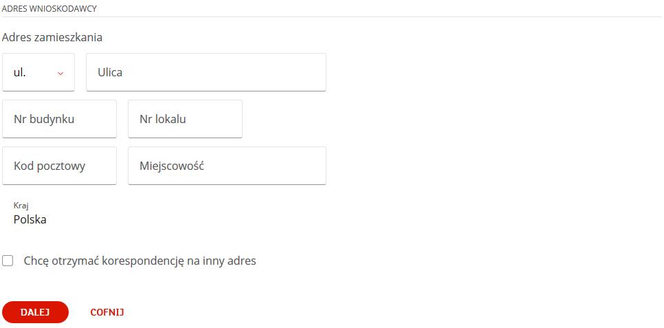 W formularzu online uzupełniamy adres wnioskodawcy