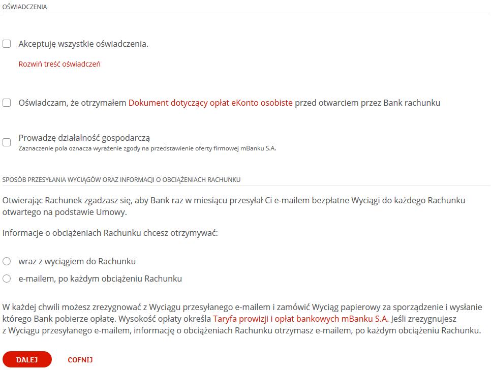 mBank - oświadczenia