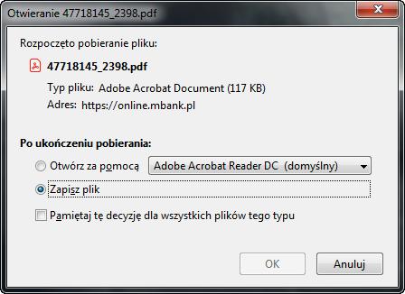 Zapisywanie potwierdzenia przelewu w formacie PDF